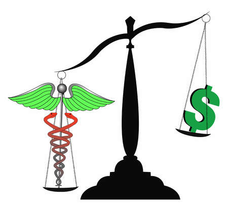 caduceus dollar sign scale