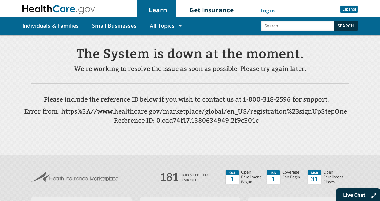 healthcare.gov error message image