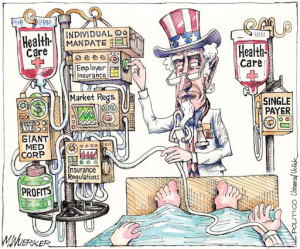 complex healthcare system cartoon