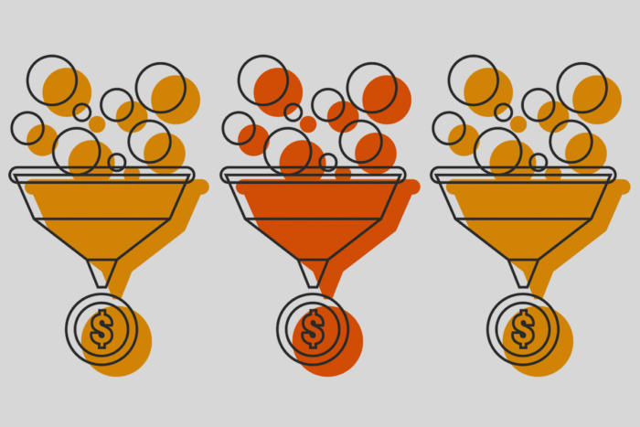 funnels representing digital data with money symbols