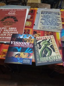 photo of books, posters, and flyers from Archive of the Graphic Resistance, Santiago Chile