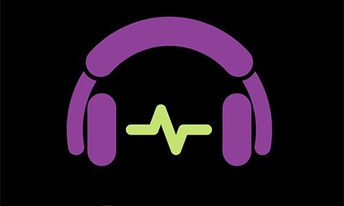 square logo saying Healthcare Is HILARIOUS with headphones and audio waveform