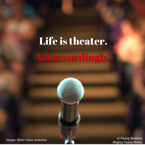 photo of microphone in focus with background of theater seats