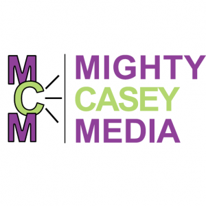 logo on white background with mighty casey media in block letters